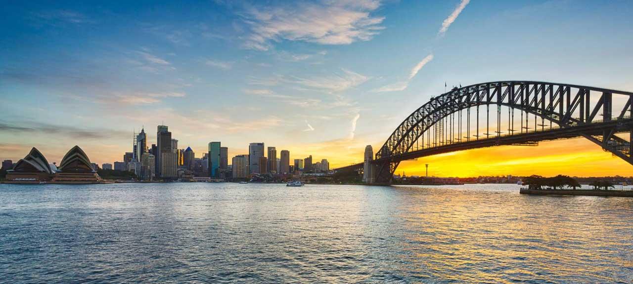 Dramatic panoramic sunset photo Sydney harbour